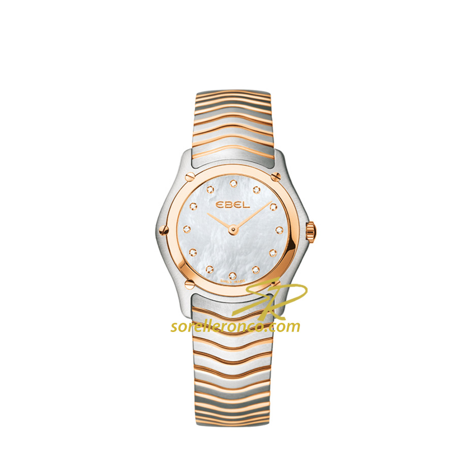 Orologio Ebele Classic Quadrante Madreperla e Diamanti Acciaio e Oro Rosa 27mm