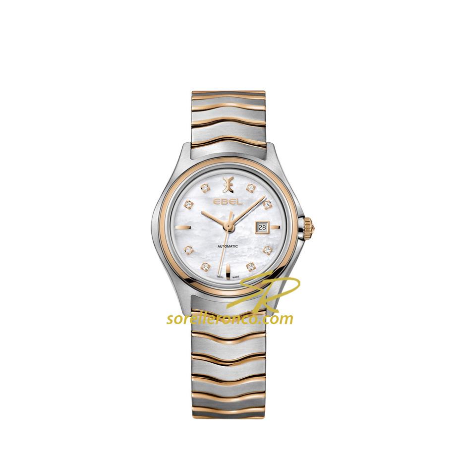 Orologio Ebel Wave Madreperla e Diamanti Automatico Acciaio e Oro Rosa 30mm