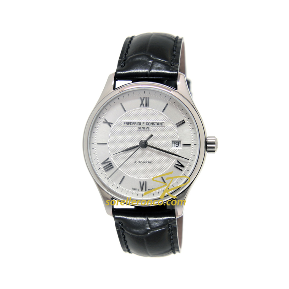 Classic Index Silver Cinturino Nero 40mm