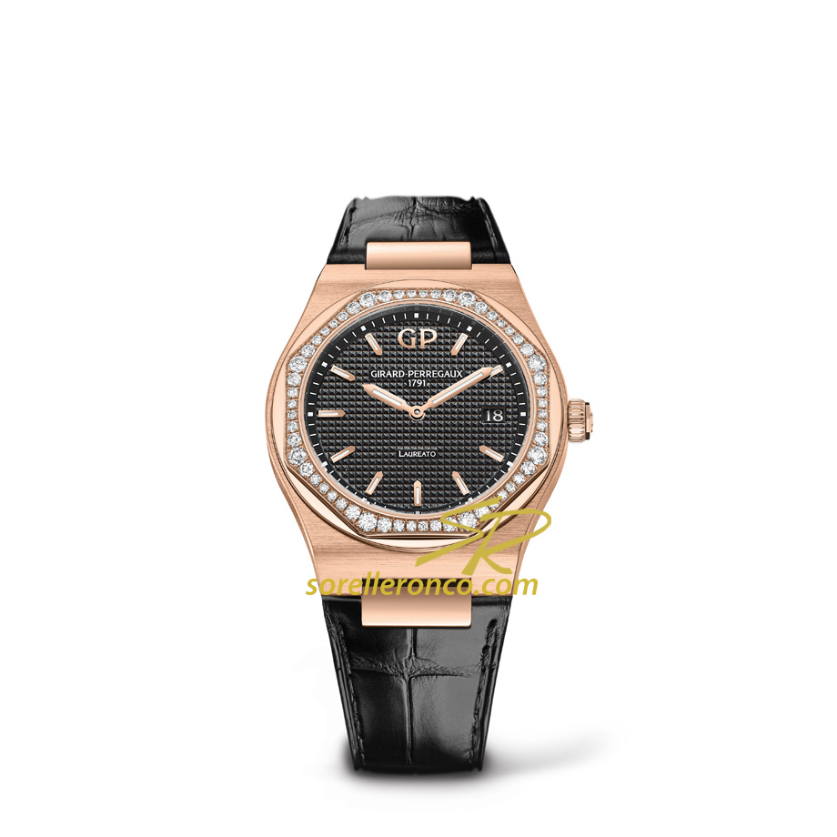 Laureato Oro Rosa Lunetta Diamanti 34mm