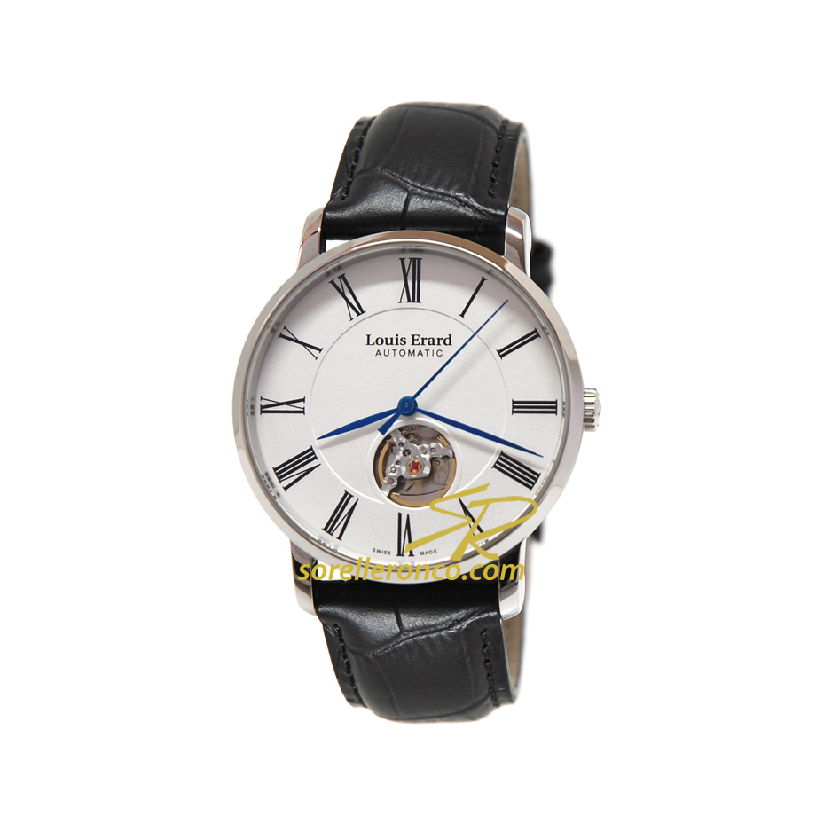 Excellence Automatico Silver Pelle Nera 40mm