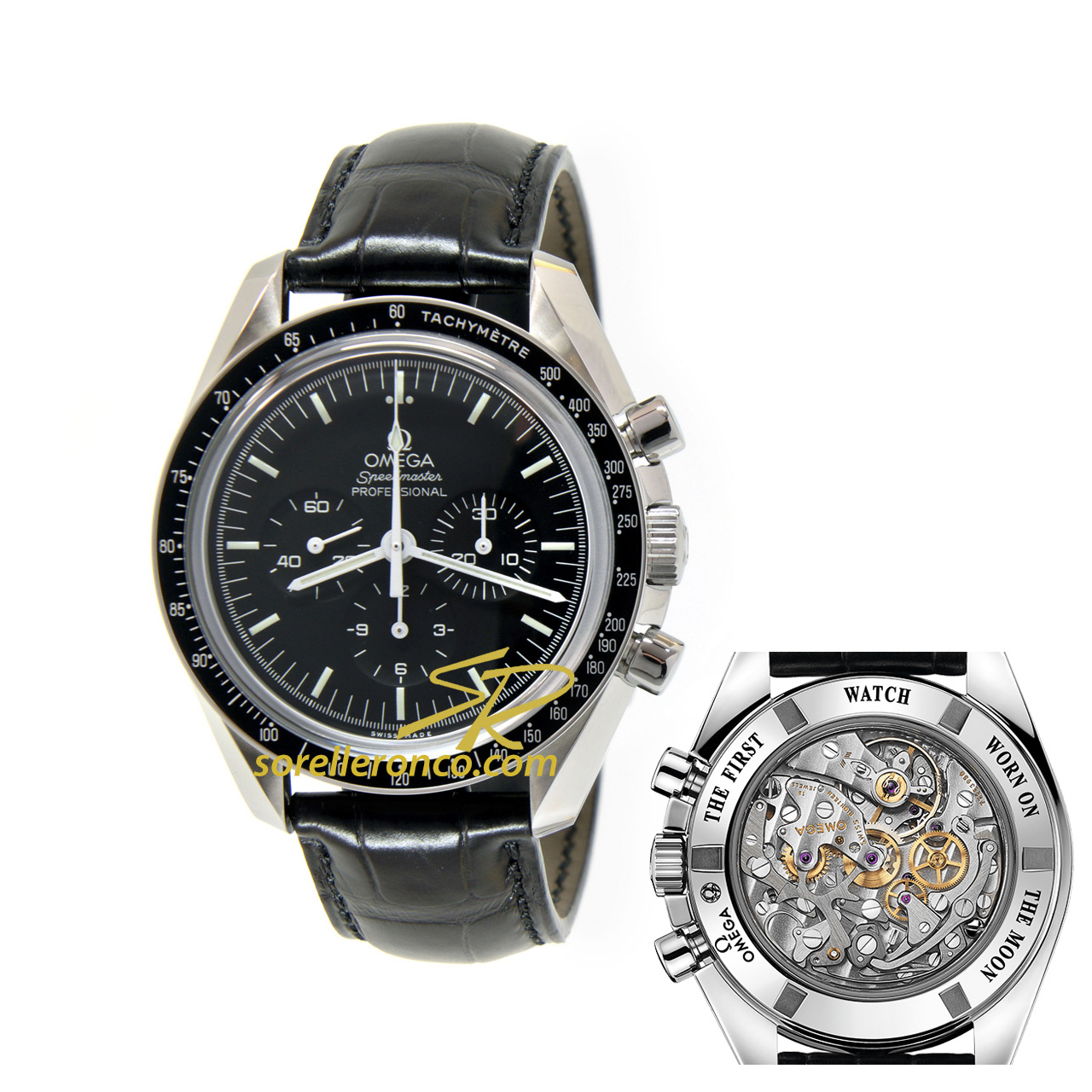 Speedmaster Moonwatch ZAFFIRO Alligatore Deployante