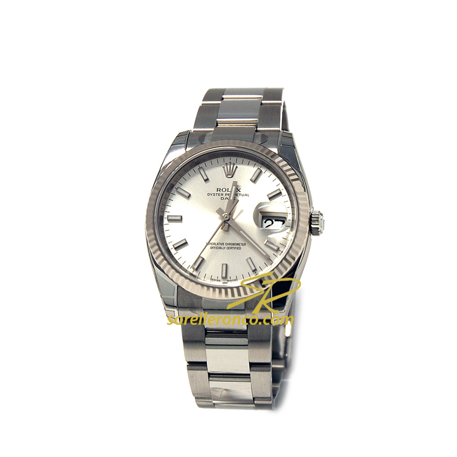 Date 34mm Silver Automatico Oyster