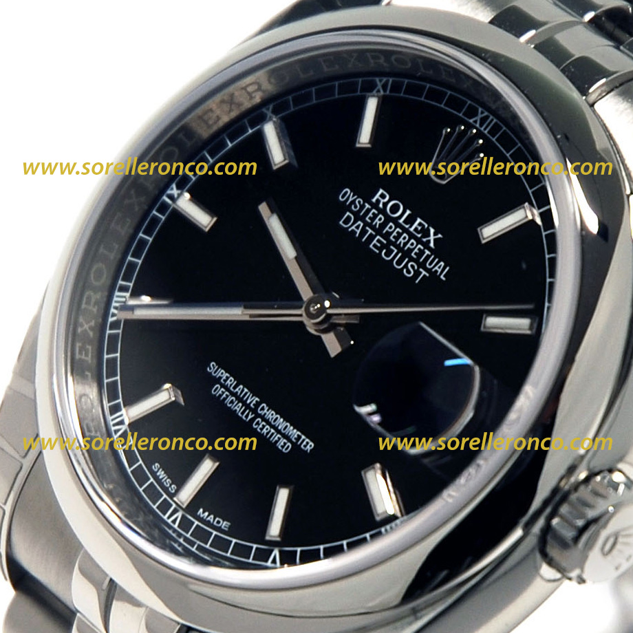 Rolex datejust 36mm nero 116200 offerta sorelle ronco for Sorelle ronco rolex