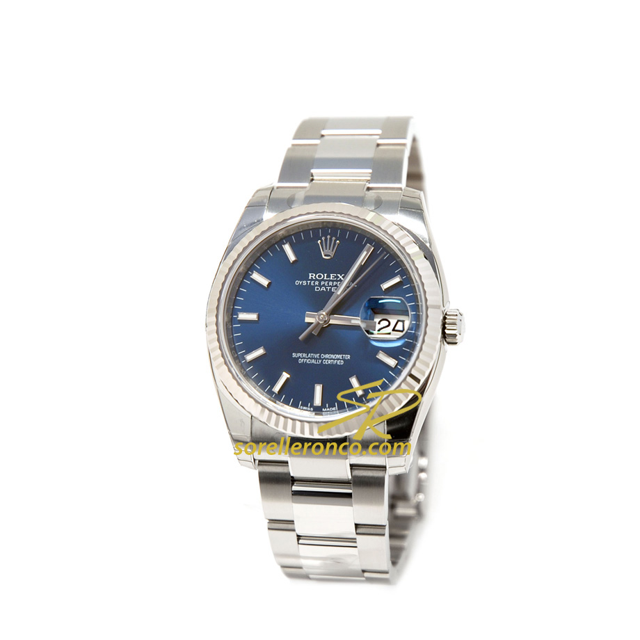 Oyster Date Blu 34mm Automatico Acciaio