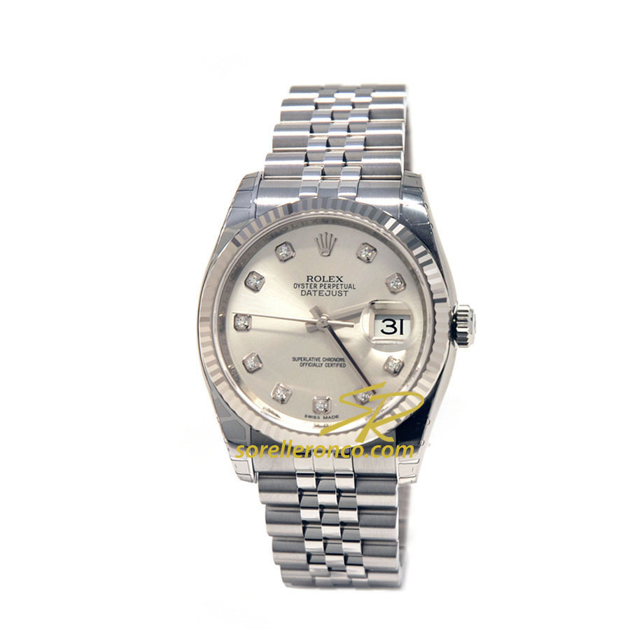 Rolex datejust 36mm silver acciaio e oro jubilee 116233 for Sorelle ronco rolex