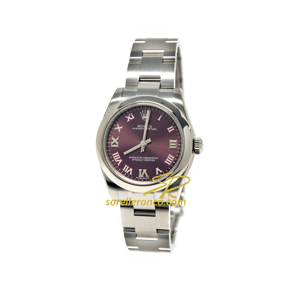 Rolex oyster perpetual red grape 31mm 177200 prezzo for Sorelle ronco rolex