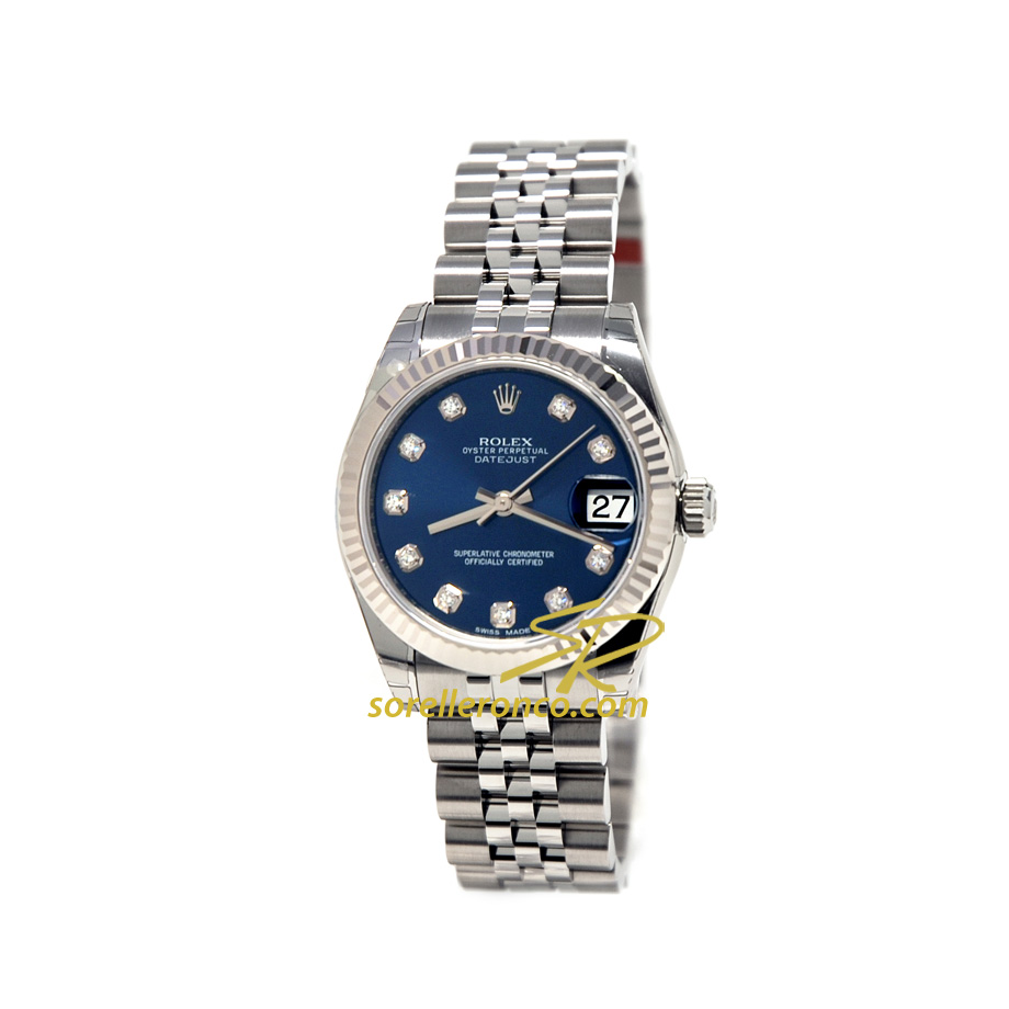 Rolex Datejust 31mm Jubilee Blu Diamanti 178274 Nuovo