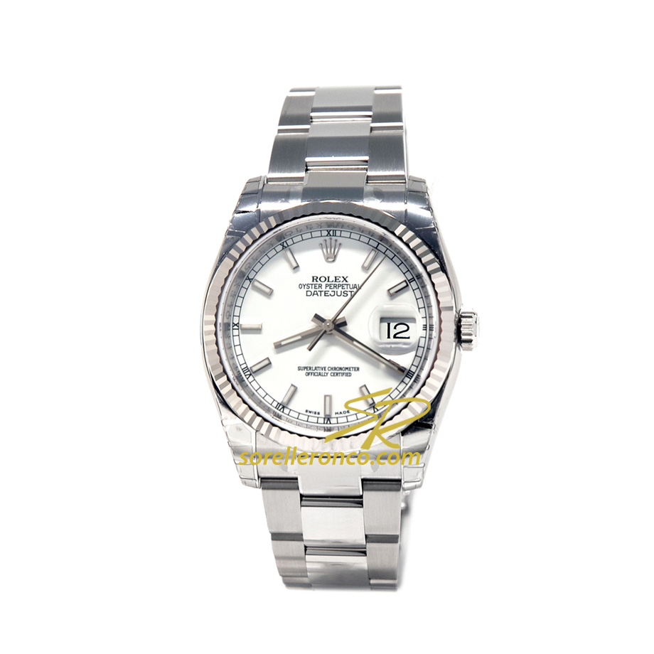 Datejust 36mm Bianco Bracciale Oyster
