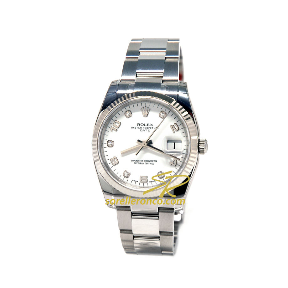 Date Quadrante Bianco e Diamanti 34mm Oyster