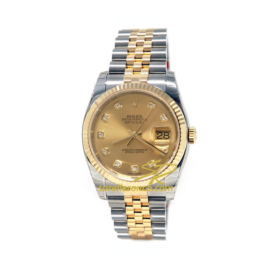 90a2ca2d763 Bracciale Jubilee Acciaio e Oro Giallo. Quadrante Champagne con Diamanti.  Rolex Datejust 36mm