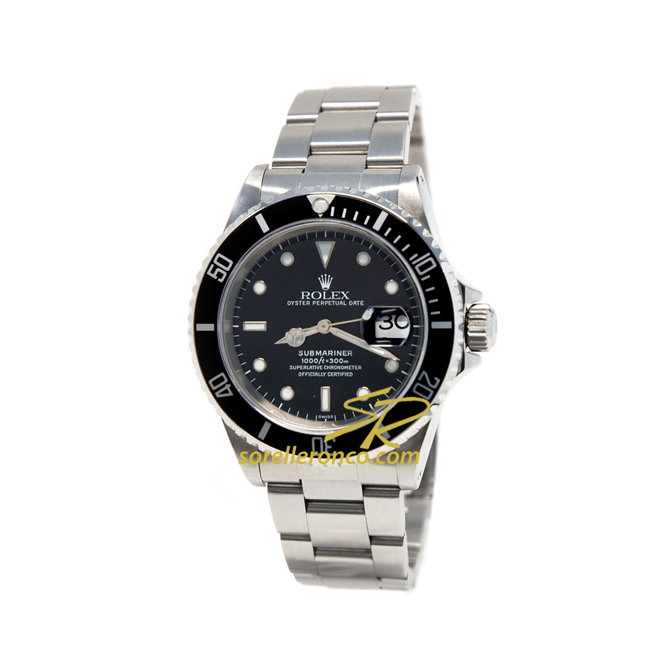 Rolex submariner 40mm ghiera alluminio nero 16610 offerta for Sorelle ronco rolex