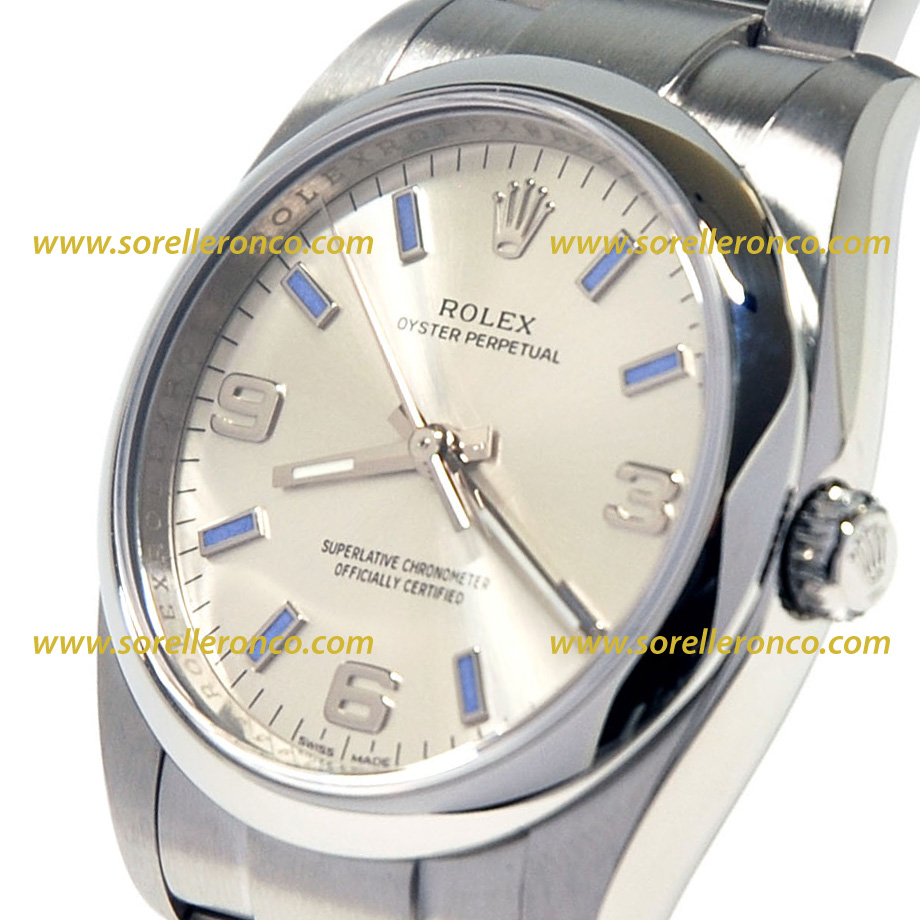 Rolex oyster perpetual 34mm silver 114200 usato sorelle for Sorelle ronco rolex