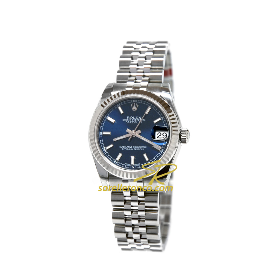 Rolex datejust 31mm jubilee blu indici 178274 nuovo for Sorelle ronco rolex