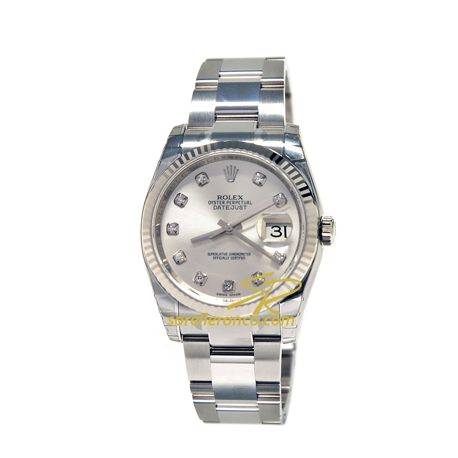Rolex datejust 36mm silver diamanti oyster 116234 prezzo for Sorelle ronco rolex