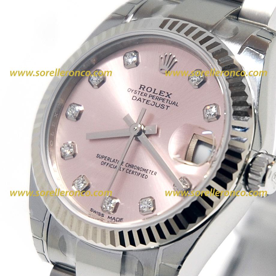 Rolex Datejust Oyster Quadrante Rosa Diamanti 31mm 178274 Nuovo