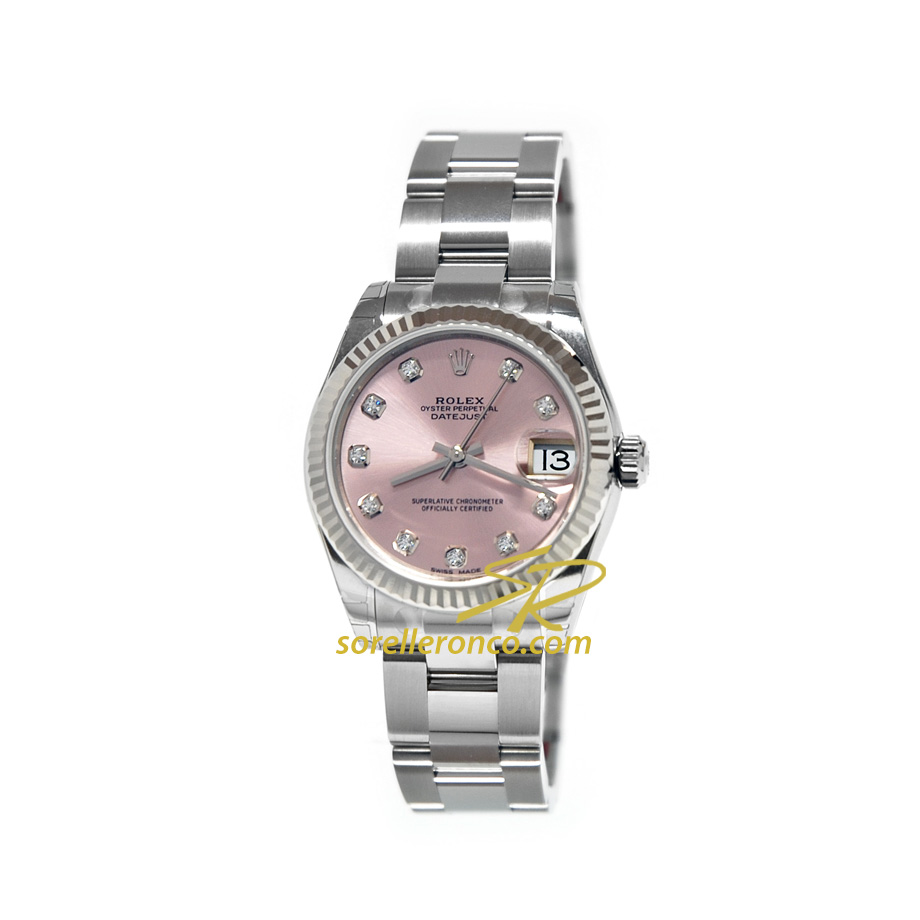 Rolex datejust oyster quadrante rosa diamanti 31mm 178274 for Sorelle ronco rolex