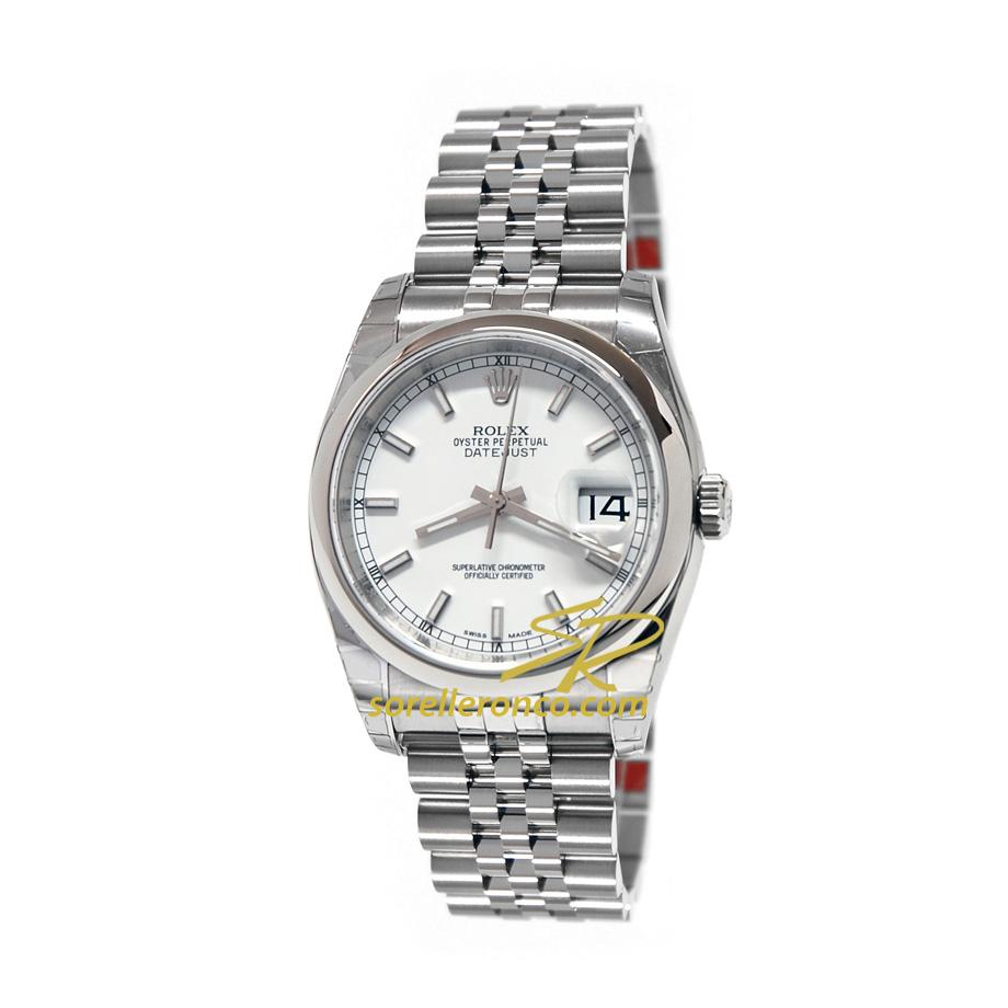 Orologio ROLEX Datejust 36mm Bianco Indici Bracciale Jubilee