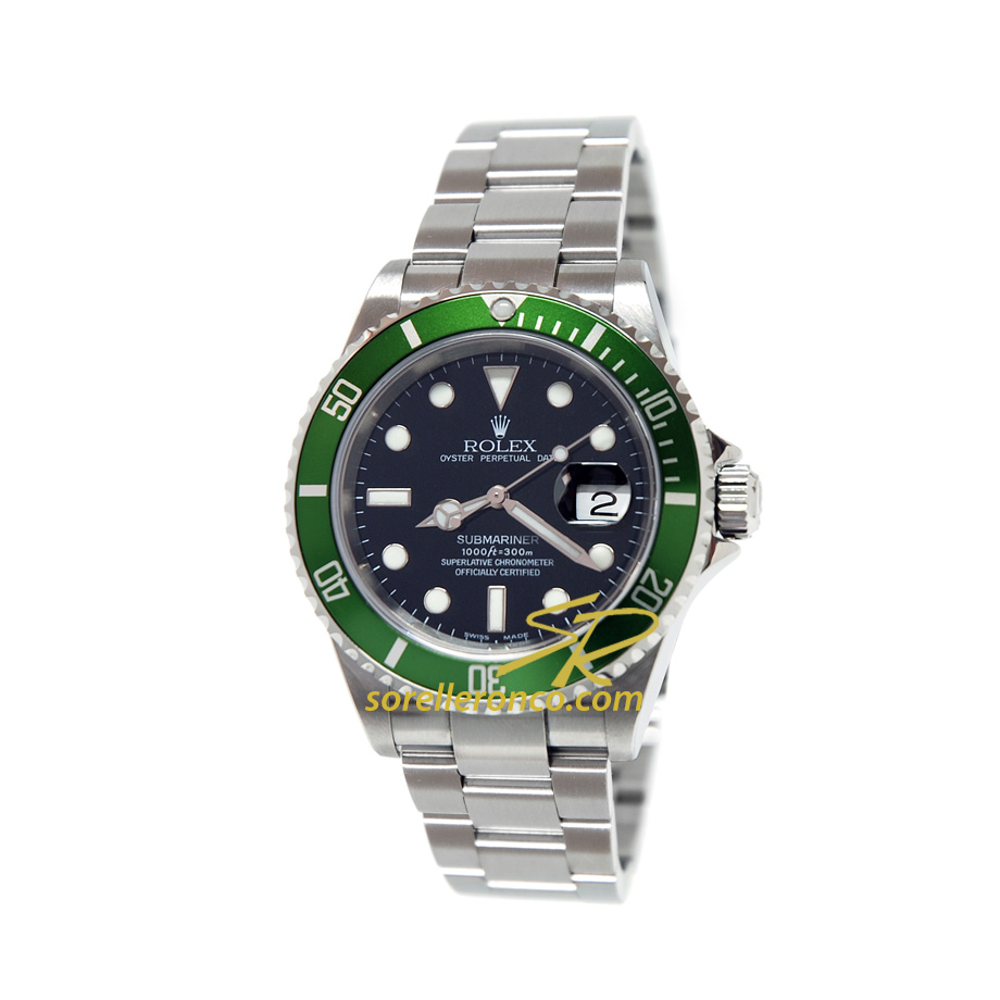 Rolex submariner fat four ghiera verde alluminio per il 50 for Sorelle ronco rolex