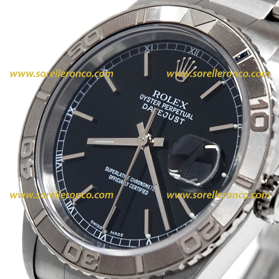 Rolex datejust 36mm turn o graph thunderbird nero 16264 for Sorelle ronco rolex