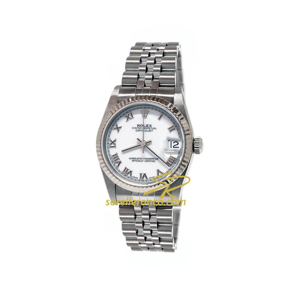 Rolex datejust bianco numeri romani jubilee 31mm 68274 for Sorelle ronco rolex
