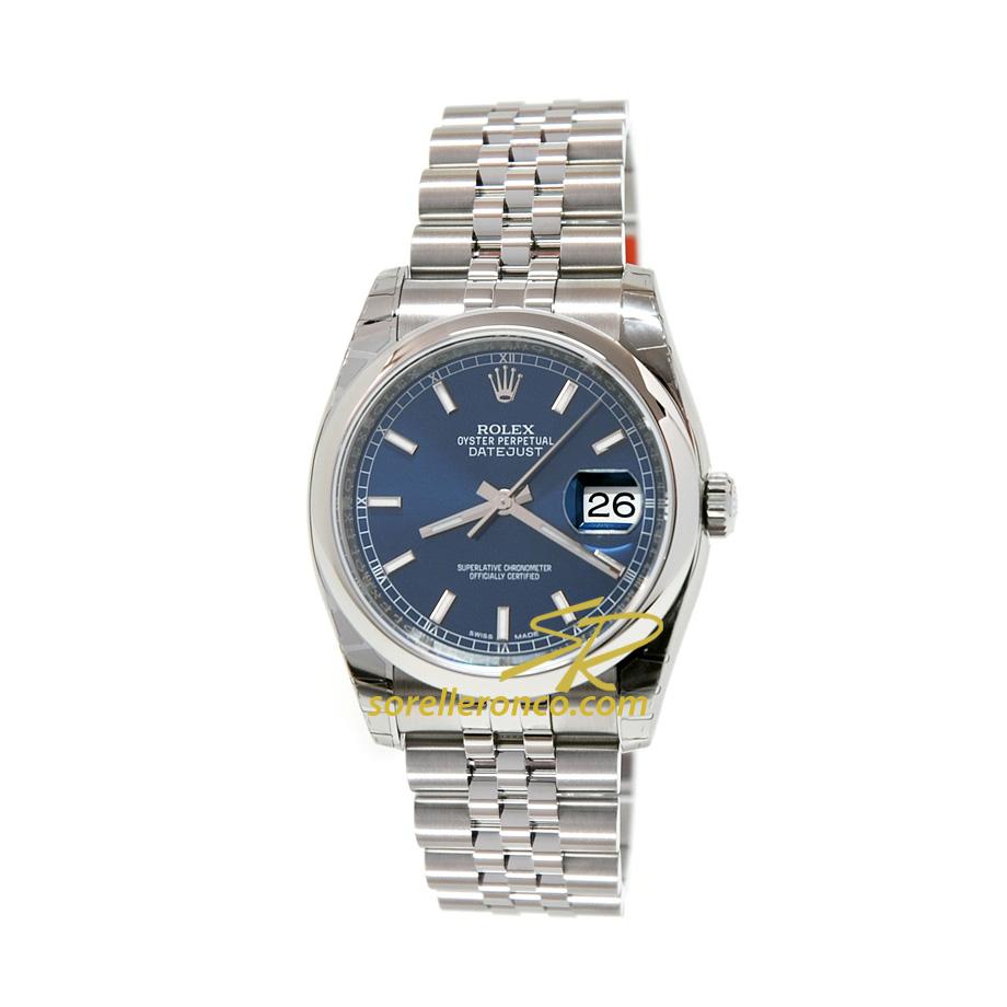 Rolex datejust 36mm blu indici jubilee 116200 offerta for Sorelle ronco rolex