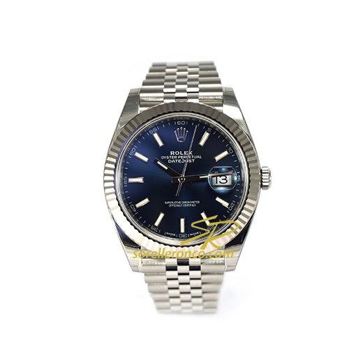 Rolex datejust 41mm quadrante blu indici oyster 126334 for Sorelle ronco rolex