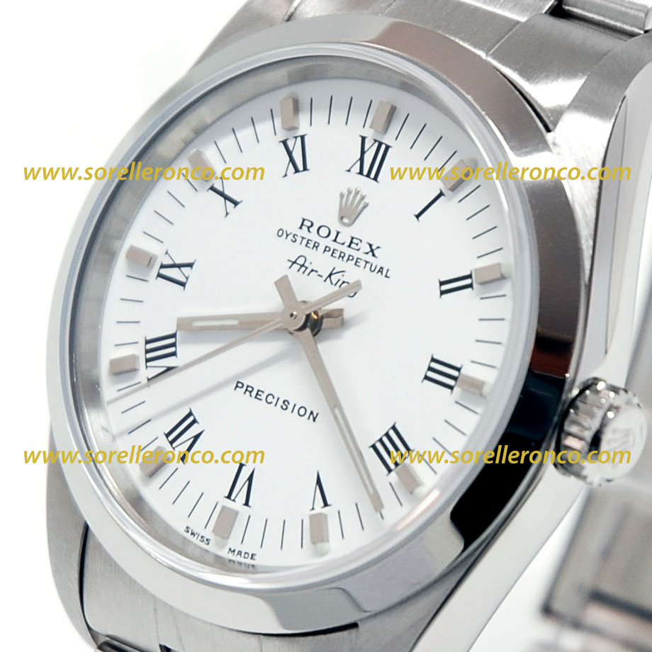 Rolex air king 34mm bianco numeri romani 14000m usato for Sorelle ronco rolex