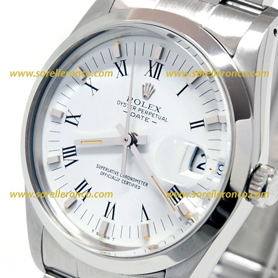Rolex date 34mm bianco numeri romani 15000 usato sorelle for Sorelle ronco rolex