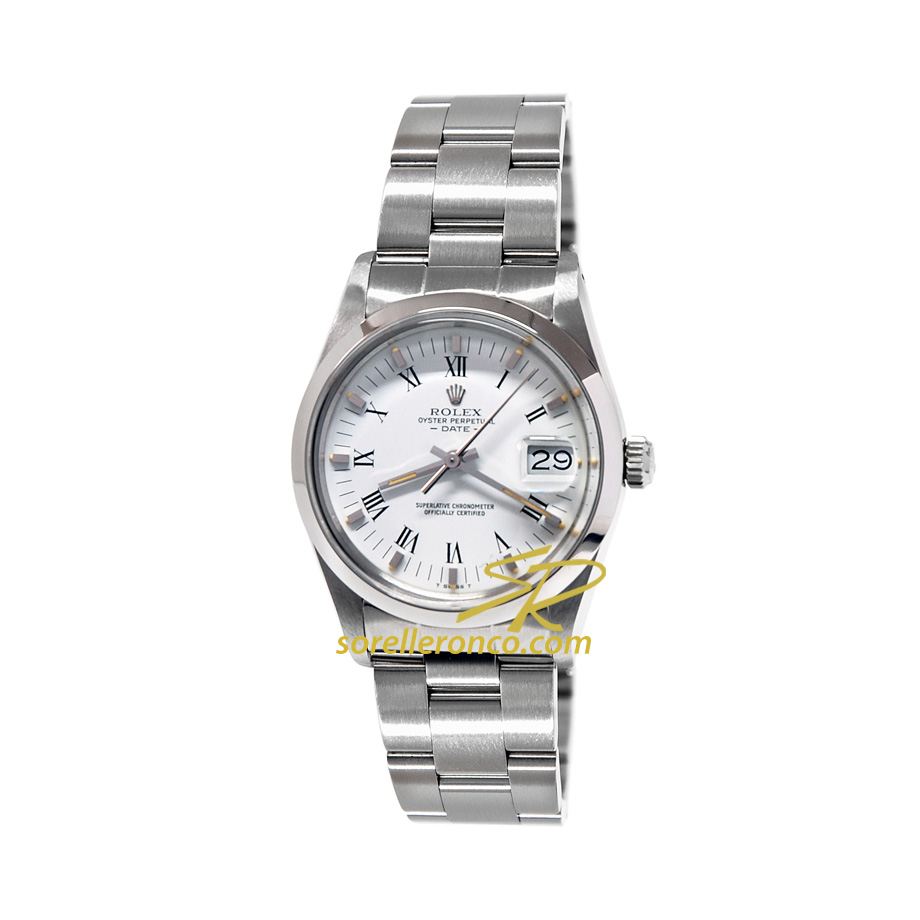 Orologio ROLEX Date Quadrante Bianco Numeri Romani 34mm