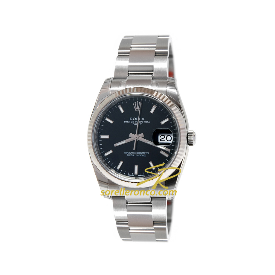 Rolex date 34mm quadrante nero indici bianchi 115234 for Sorelle ronco rolex