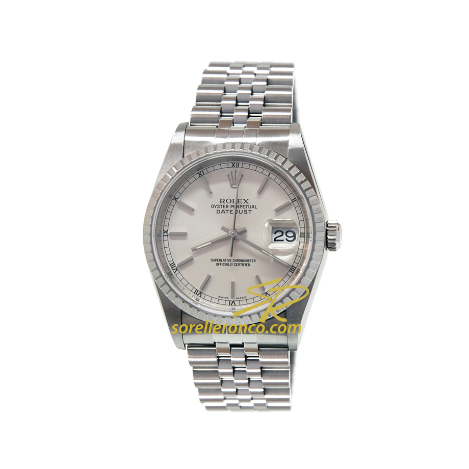 Rolex datejust 36mm quadrante silver jubilee ghiera for Sorelle ronco rolex