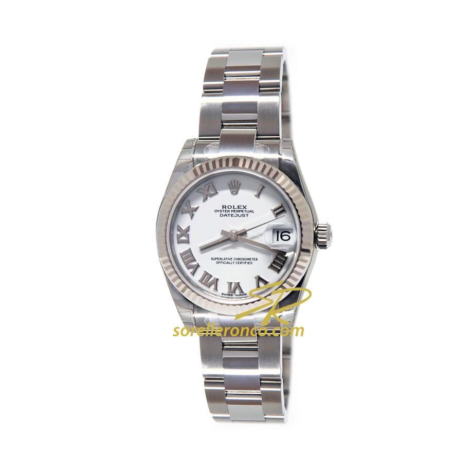 Orologio Rolex Datejust 31mm Bianco Numeri Romani Bracciale Oyster