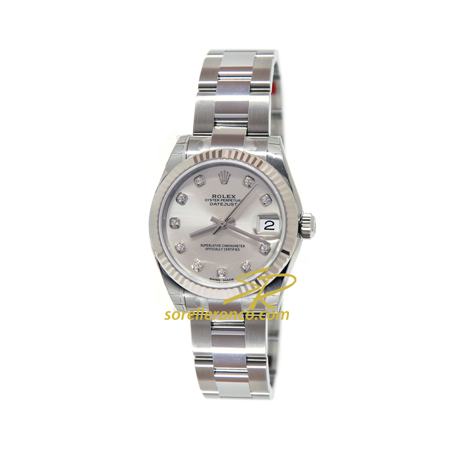 Datejust Silver 10 Diamanti Oyster 31mm