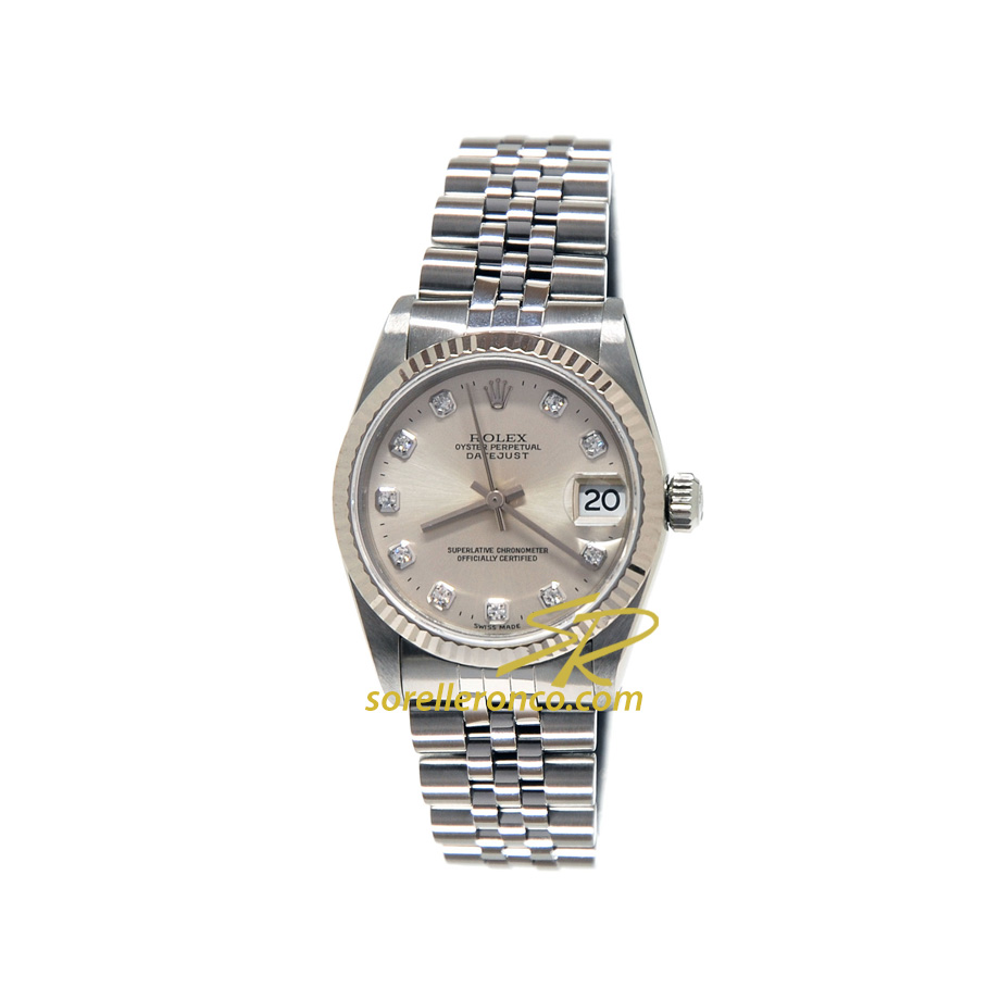 Rolex datejust silver diamanti jubilee 31mm 68274 usato for Sorelle ronco rolex