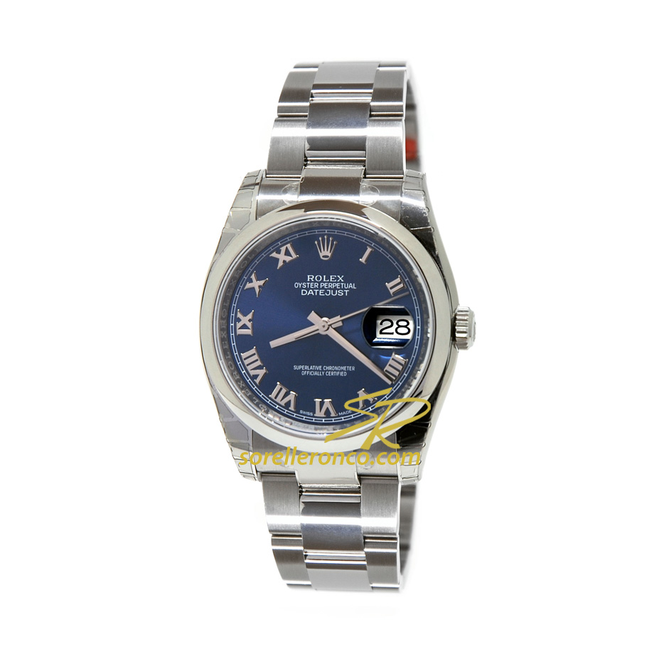 Rolex datejust 36mm blu romani oyster 116200 vendita for Sorelle ronco rolex
