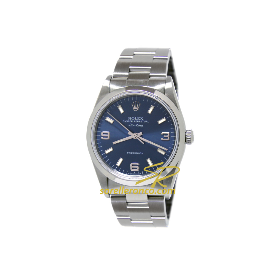 Rolex air king 34mm blu 14000m usato sorelle ronco for Sorelle ronco rolex