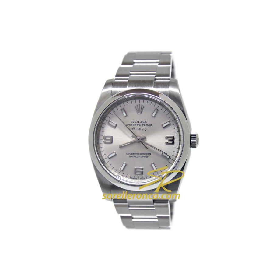 Rolex air king silver 369 oyster perpetual 34mm 114200 for Sorelle ronco rolex