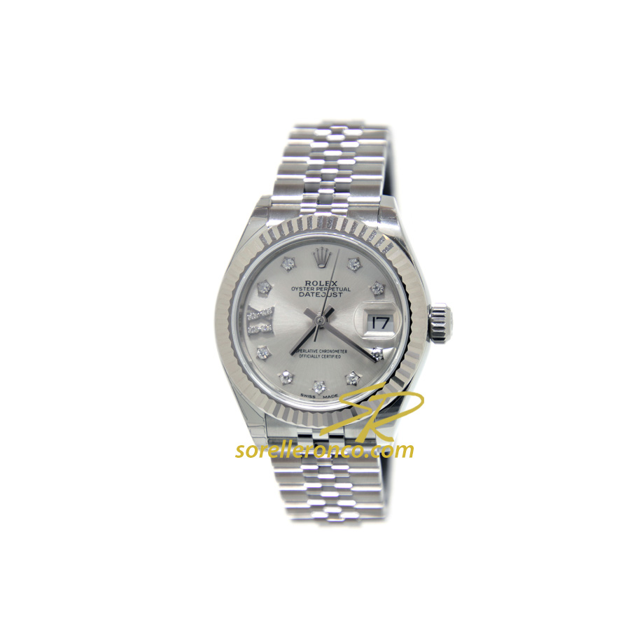 Datejust 28mm Lady Silver Diamanti - Nuovo