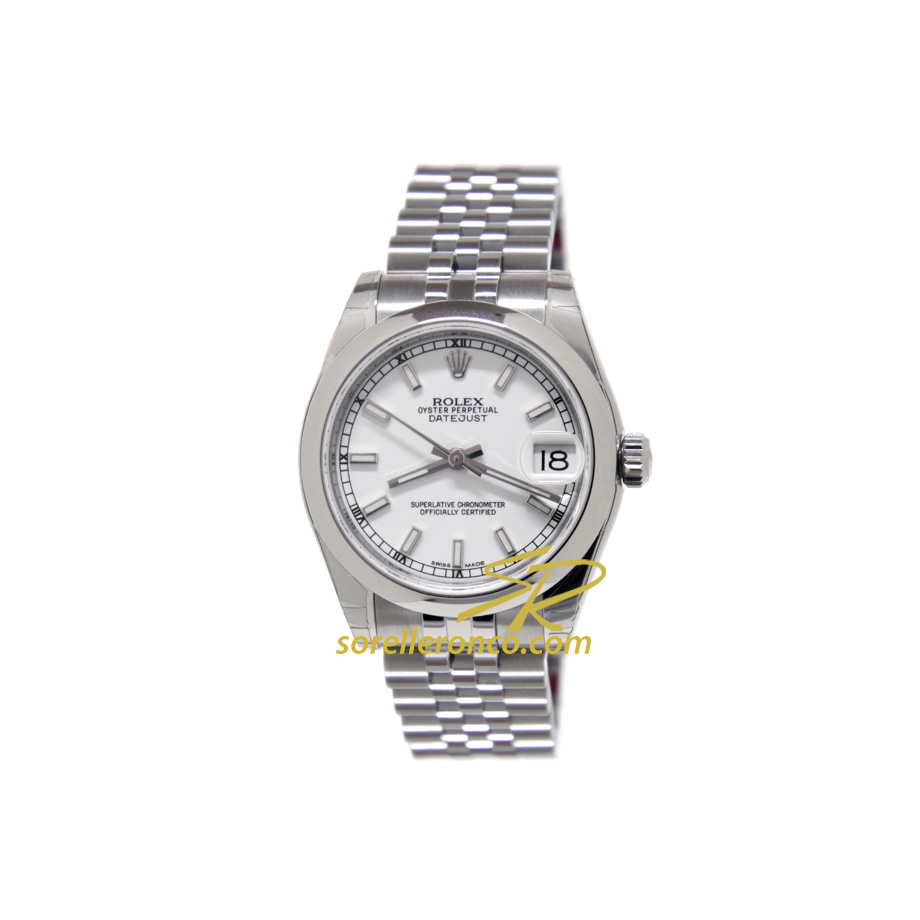 Rolex datejust bianco indici jubilee 31mm 178240 offerta for Sorelle ronco rolex