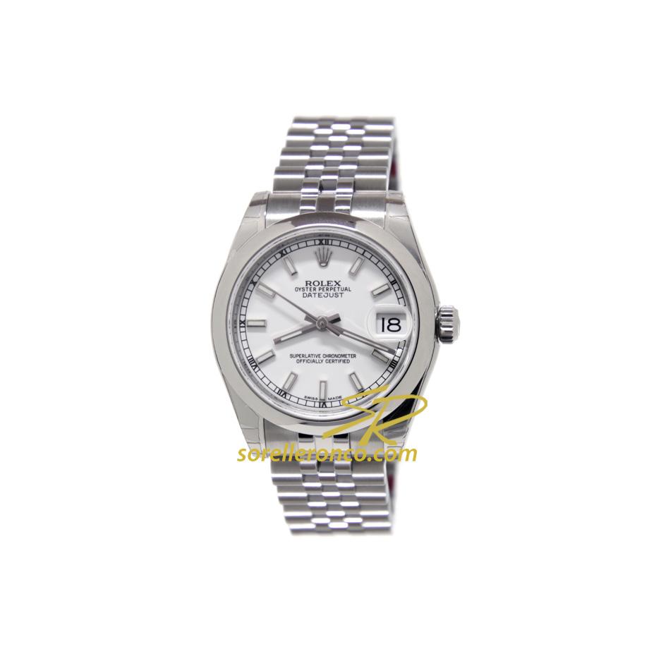 Orologio Rolex Datejust 31mm Bianco Indici Jubilee Prezzo