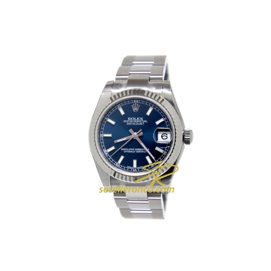 Orologio Rolex Datejust 31 mm Blu Indici Oyster