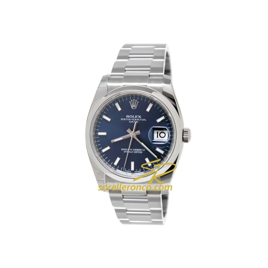 Orologio Rolex Oyster Date Blu Indici 34mm