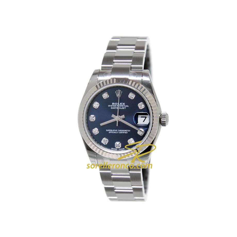 Orologio Rolex Datejust Blu Diamanti Ghiera Oro Bianco Prezzo