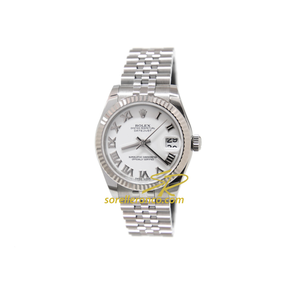 Rolex datejust 31mm bianco romani bracciale jubilee 178274 for Sorelle ronco rolex