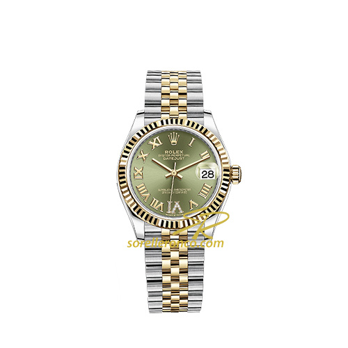 Datejust Acciaio Oro Quadrante Verde e Diamanti 31mm