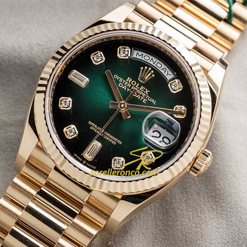 Day Date Oro Giallo Quadrante Verde Diamanti 36mm