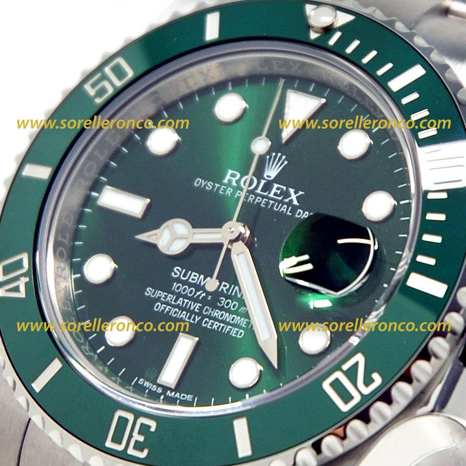 selezione migliore 35081 c5ebd ROLEX SUBMARINER GHIERA VERDE HULK 116610LV Prezzo | Sorelle ...