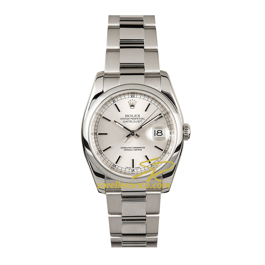 Datejust Acciaio 36mm Silver Indici Oyster