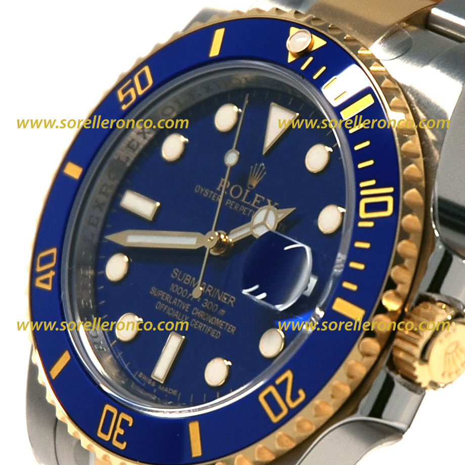 Rolex submariner date acciaio e oro giallo 116613lb for Sorelle ronco rolex